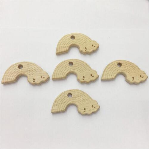 1X Natürliche regenbogen form Molarenstock  Holz Beißring Baby Molaren Spielzeug