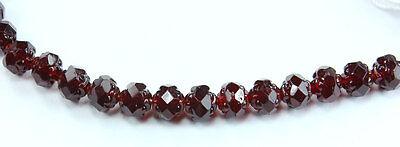 25 Garnet Rosebud Czech Firepolished Glass Beads 5x6mm