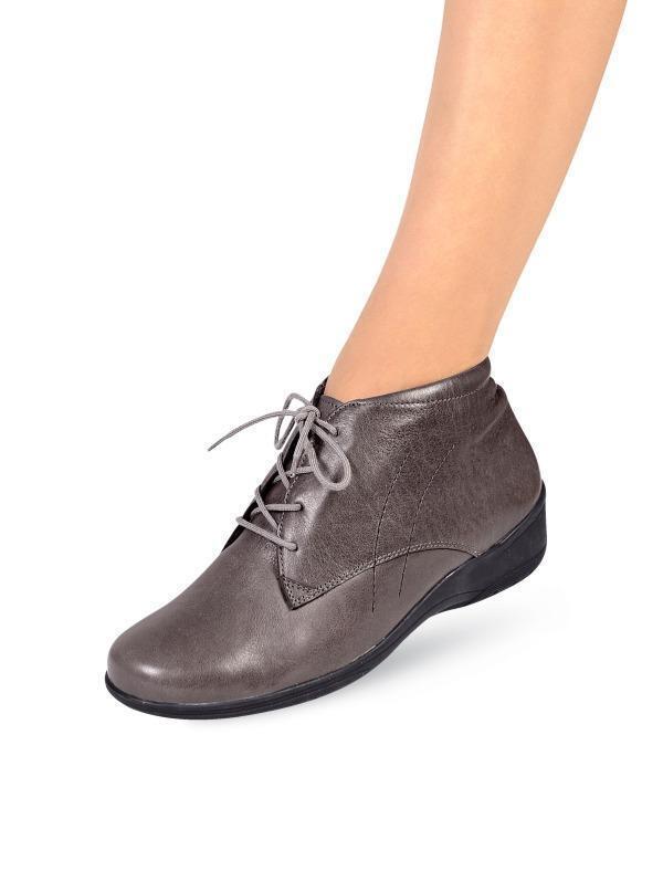 Zapatos señora zapatos botas botines de cuero de bosque alfil /37 W H