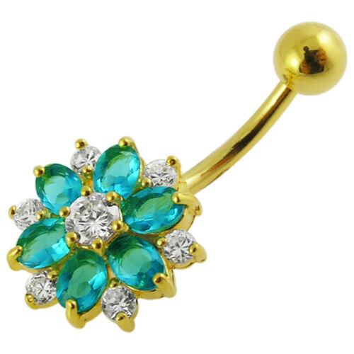 14G Yellow Gold Plated Aquamarine 2 Color Flower Belly Bar Piercing Jewellery