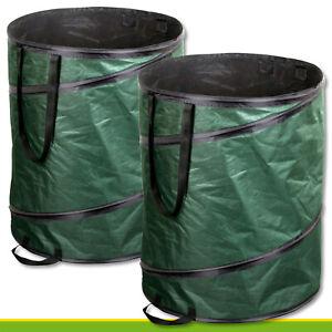 2x-160l-Gartentasche-Pop-up-Laubsack-Blaetter-Kompost-Bioabfall-Maehgut
