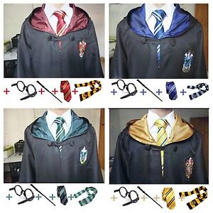 Harry-Potter-kids-Adult-Cosplay-Costume-Robe-Cloak-with-Tie-Scarf-Wand-Glasses
