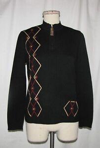 St-John-Sport-Black-w-Eyelet-Accented-Geometric-Line-Design-Pullover-Sweater-S