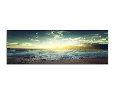 150x50cm - Sunset On Sychelles Beach Strand Wellen Panorama Wandbild Leinwand