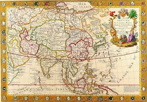 1732 asia world map antique vintage reproduction old style poster image is loading 1732 asia world map antique vintage reproduction old gumiabroncs Gallery