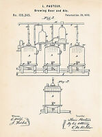 1873 Pasteur Beer Ale Making Brewery Connoisseur Presents Gift Patent Art Prints