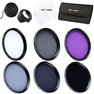 K-amp-F-Concept-58mm-UV-CPL-FLD-ND2-4-8-Filter-Kit-Lens-Hood-Cap-fr-Canon-Nikon-Sony