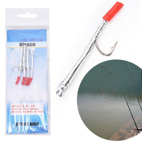 Sabiki Saltwater Fishing Lure Bait Rig Hook Tackle Luminous Beads Feather 3ACYCA