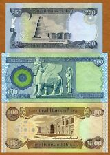 Iraq - 250, 500 and 1000 Dinars - Set of 3 UNC currency notes