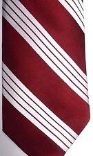 "Tie Bar Men's Silk Tie 60.5"" X 3.75"" Burgundy w/ Silver American Stripes"