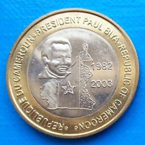 Cameroon-6000-CFA-francs-2003-UNC-President-Biya-Bi-metallic-unusual-coinage