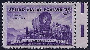 "950 - Miscut Gutter Snipe Error / EFO ""Utah Centennial"" Pioneers Mint NH"