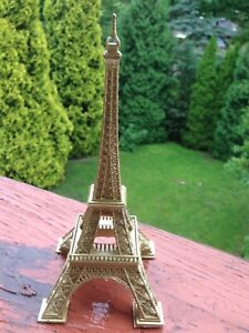 Eiffel Tower  Figurine/Statue 7 Inch Tall -  Gold Painted