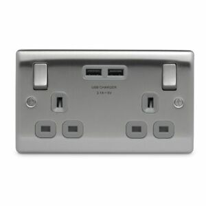 USB-Electrical-Double-Wall-Socket-Brushed-Crome-With-Grey-Inserts