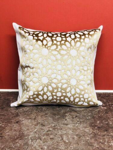 Ivoire et or brillant géométrique Crush Velvet Pillow Throw Cushion Cover