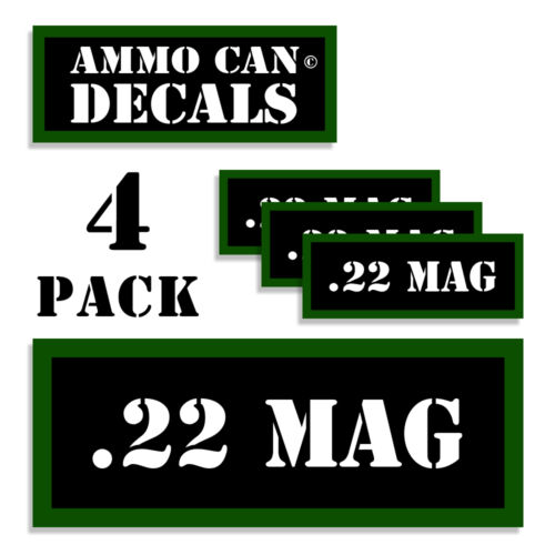 22 MAG Ammo Can 4x Labels for Ammunition Case 3 x 1.15 stickers decals 4 pack