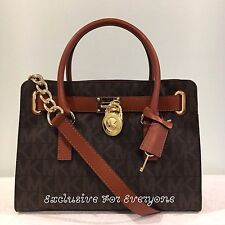 NWT Michael Kors Hamilton Brown PVC MK Logo Signature Satchel Bag $298