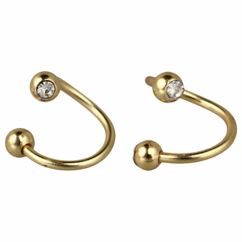 2 lot GOLD Plated GEM Ball Twist BELLY Button NAVEL RINGS Piercing Jewelry E2D1