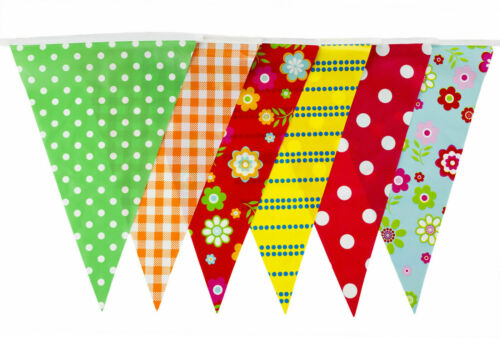 20 Flags 10m Long  Bunting Vintage Shabby Chic Polka Dot Floral Checked Cottage