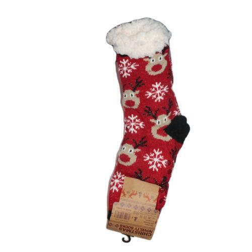 New Men Ladies Christmas Sherpa Fleece Lined Warm Thermal Gripper Lounge Slipper