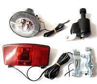 Fahrradbeleuchtung Set Dynamo Frontlampe Rücklicht Lampe Licht Mit Halterung