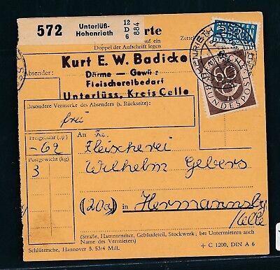 Paketkarte 1953 Landpost K2 Hohenrieth über Unterlüß PüNktlich 25477