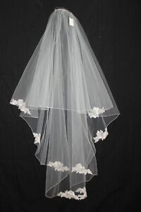 New double layer Silver lace light ivory long bridal veil with blusher $320