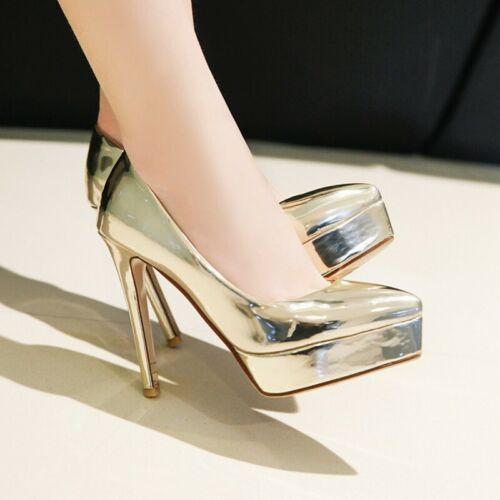 Details about  /Women Shiny Color Platform 11.5cm High Heel Slip On Dinner Court Pumps Shoes New