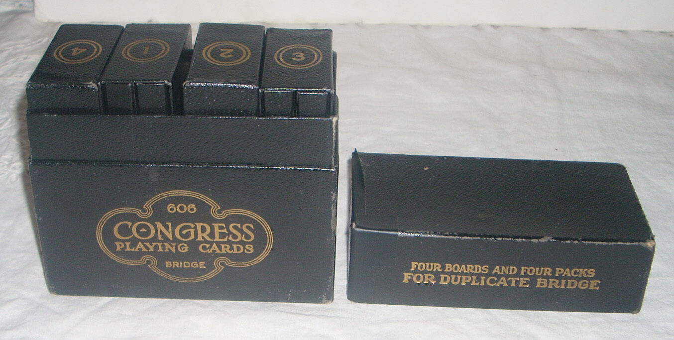 Vintage Four 1925 Congress Duplicate Bridge Four Vintage Board Set with Linen Playing Cards 5ab4f3