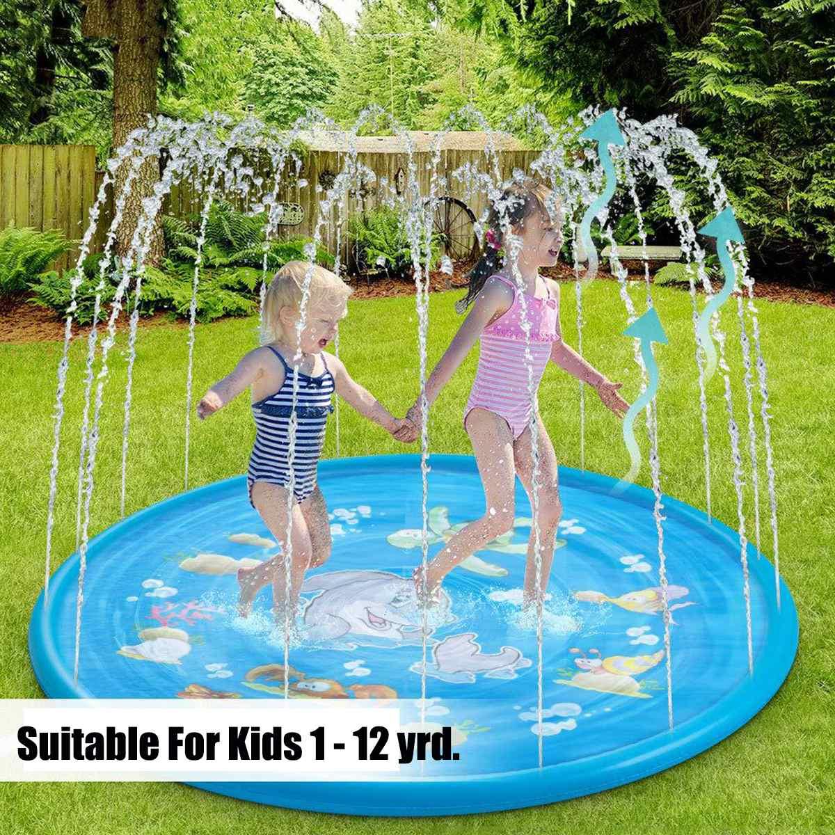 Summer Kids Inflatable Round Water Splash Play Pool Playing Sprinkler Mat Yard