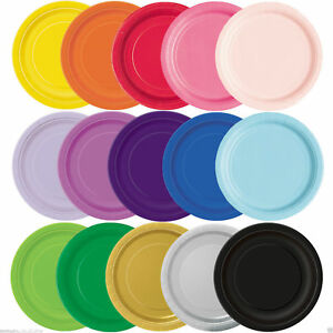 Image is loading New-16-x-Solid-Colour-Plain-Paper-Plates- & New 16 x Solid Colour Plain Paper Plates 21.9 cm Party Tableware in ...