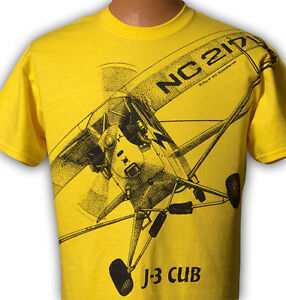 Airplane-T-shirt-with-HUGE-Piper-J-3-Cub-print-on-front-and-back-Youth-to-5XL