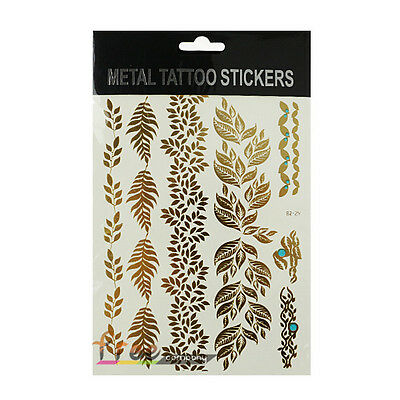 Metallic Flash Temporary Tattoo Gold Silver Inspired Body Art Makeup Sticker