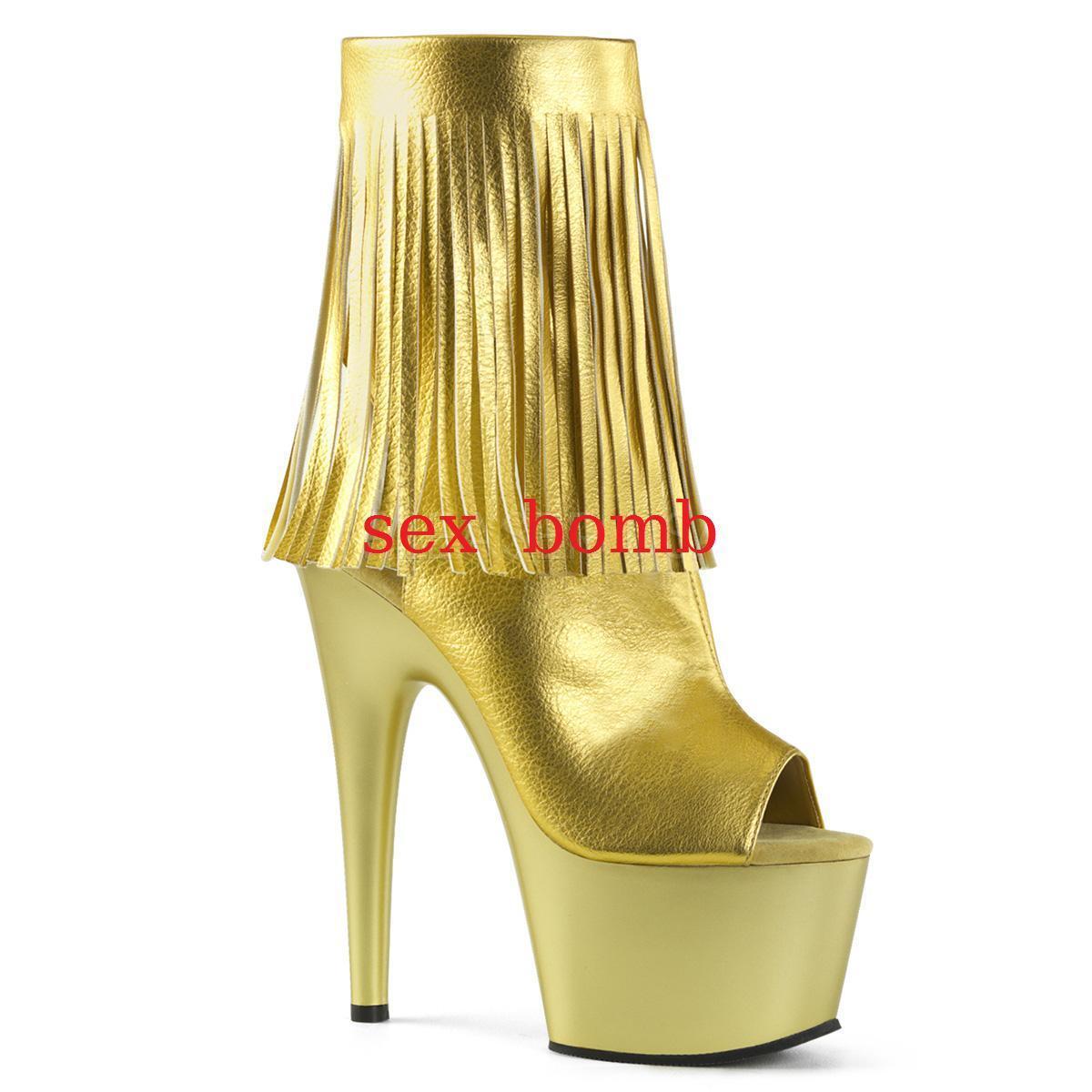 disegni esclusivi Sexy STIVALETTI FRANGE tacco 18 18 18 plateau oro dal 35 al 41 spuntati CLUB glamour  Offriamo vari marchi famosi