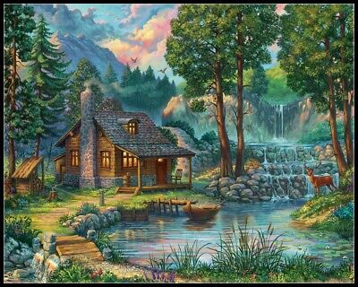 DIY Chart Counted Cross Stitch Patterns Needlework House by the Lake