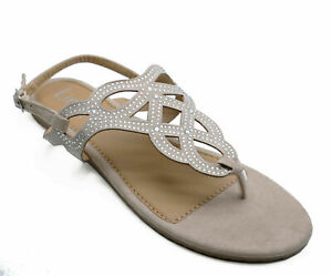 WOMENS GOLD FLAT BUTTERFLY FLIP-FLOP COMFY SUMMER SANDALS HOLIDAY SHOES 3-8