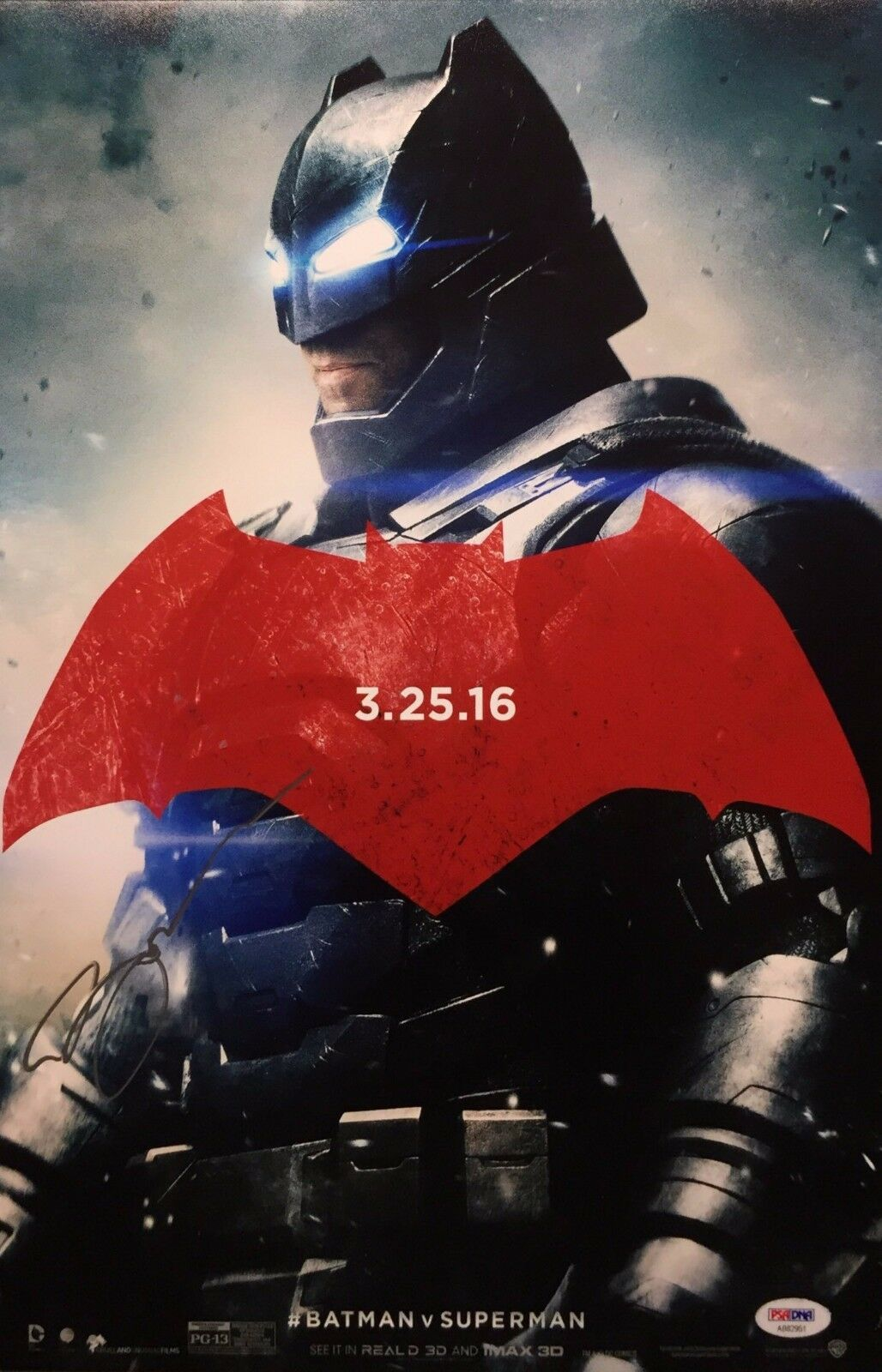 Ben Affleck Signed Batman Vs Superman 12x18 Photo PSA AB82951