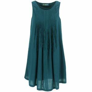 Dress Woven A Line Womens Bohemia Sweden Round Neck Teal Ebay