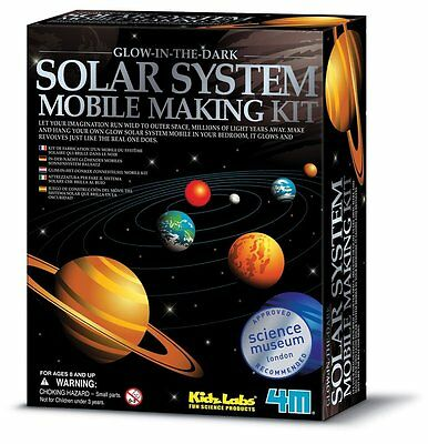 4M Glow-In-The-Dark Solar System Mobile Making Kit, New, Free Shipping