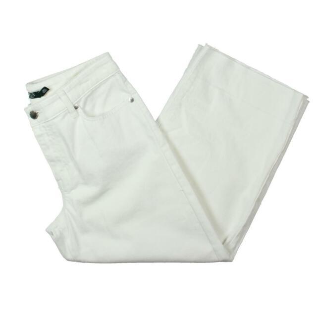 Lauren Ralph Lauren Womens Zachariah  White Wide Leg Cropped Jeans 4 BHFO 3056