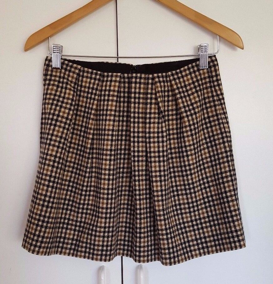 WHISTLES LONDON WOMEN'S PLAID SKIRT BROWN AND blueE US 6