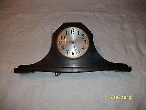 Vintage Sessions mantel clock camel back electric dark walnut case