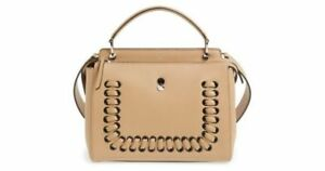 e3e425426a FENDI DOTCOM Lace-Up Weave Leather Satchel Saddle Brown color Large ...