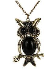 Retro Vintage Black Owl Pendant Long Necklace UK Seller
