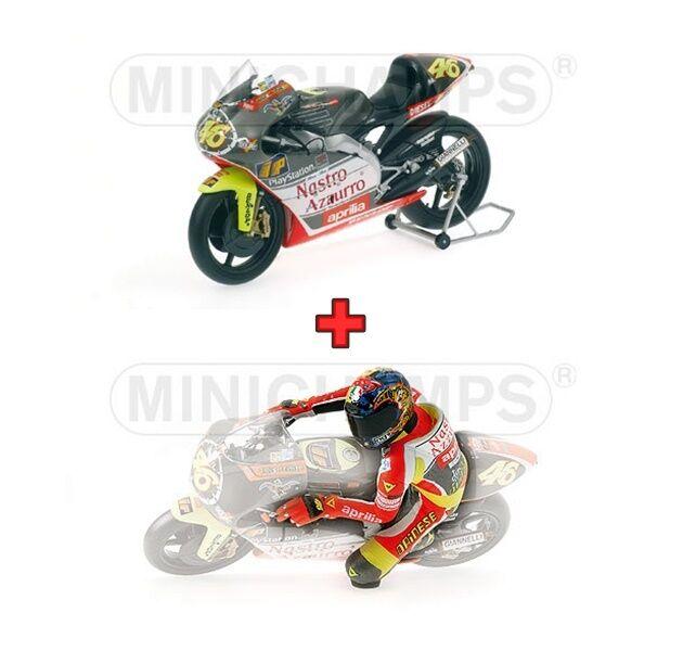 1 12 Minichamps Aprilia 250 GP + Figure Valentino Rossi 1999 Nastro Azurro NEW