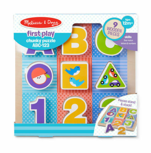 9 pcs Melissa Doug First Play Wooden ABC-123 Chunky Puzzle #1899