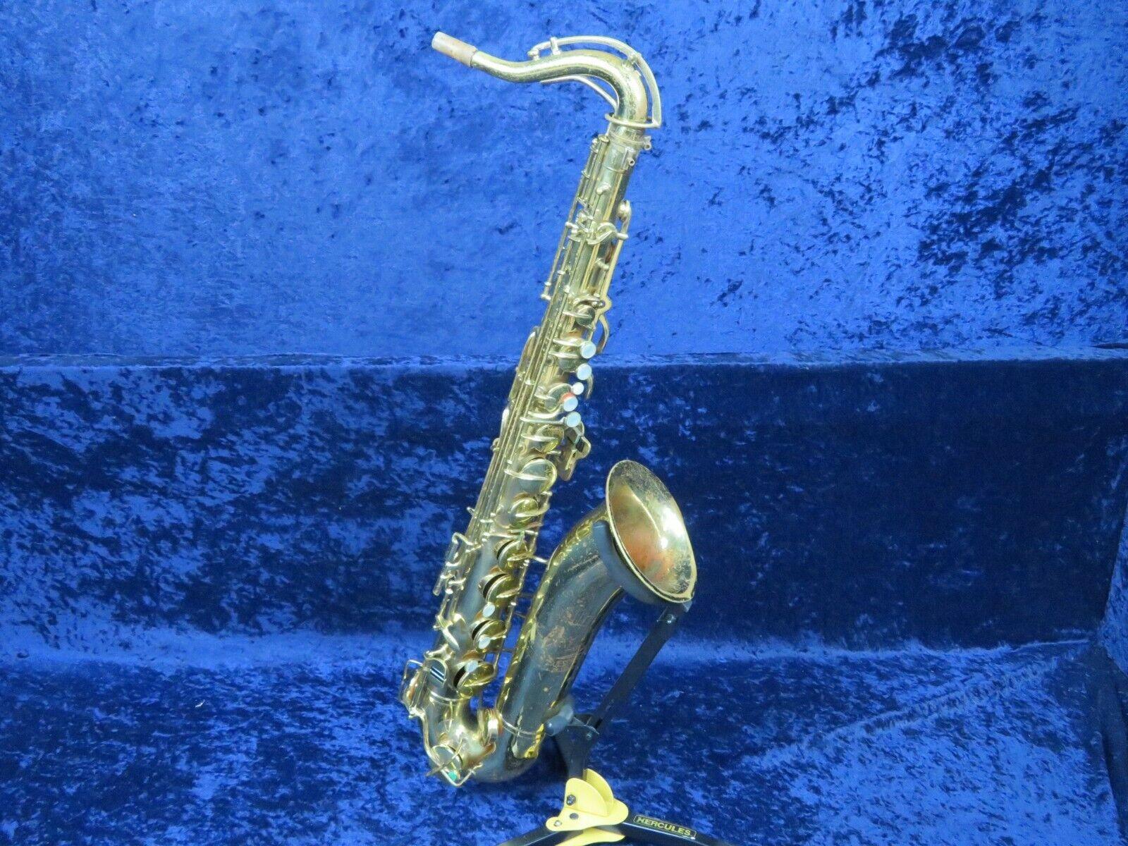 Buescher Elkhart 30A Tenor Saxophone SerPlays Benötigt Bell Pad Re-Glued