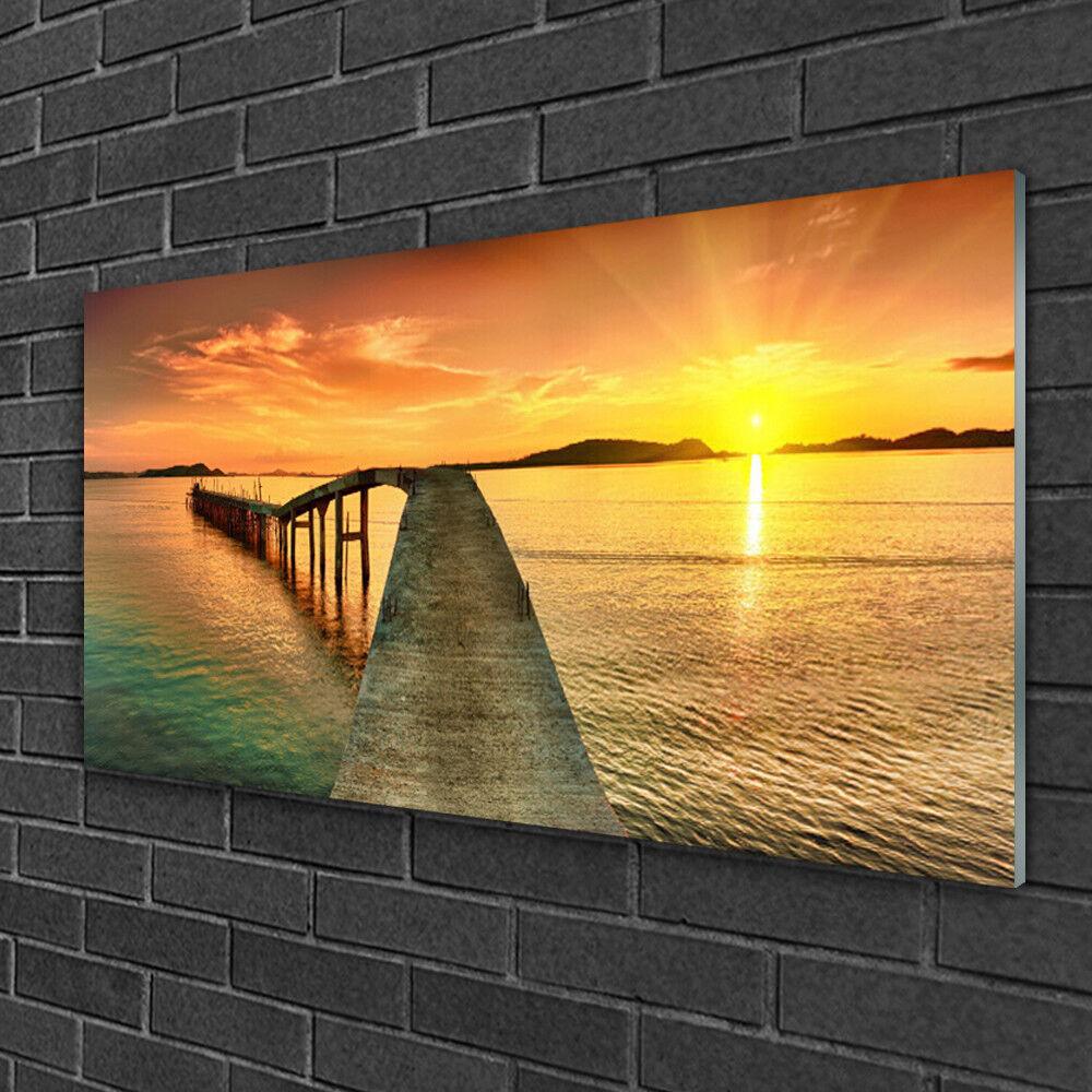 Image sur verre Tableau Impression 100x50 Paysage Pont Mer
