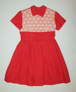 Great-Old-vtg-1950s-Girls-Dress-NOS-Red-White-Peter-Pan-Collar-Size-9-Deadstock