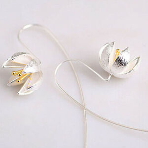 1-Pair-Silver-Handmade-Lotus-Flower-Long-Earrings-for-Women-Charm-Jewelry-Gift